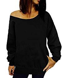 Dutebare Women Off Shoulder Sweatshirt Slouchy Shirt Long Sleeve Pullover Tops Black a M