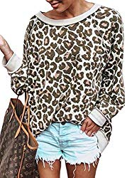 ECOWISH Women's Casual Leopard Print Pullover Long Sleeve Sweatshirts Top Blouse Camel M