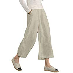 Ecupper Womens Casual Loose Plus Size Elastic Waist Cotton Trouser Cropped Wide Leg Pants Natrual 16