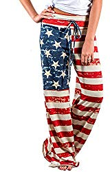 Elsofer Women's Pajama Lounge Pants Floral Print Comfy Casual Stretch Palazzo Drawstring Pj Bottoms Pants Wide Leg (Tag 3XL (US 14), Red)
