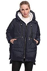 FADSHOW Women's Winter Down Jackets Long Down Coats Warm Parka with Hood,Deep Blue,M