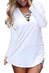 Feiersi Women's Long Sleeve Criss Cross Casual Basic up Blouse White S