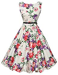 Floral Swing Dresses for Picnic Party Sleeveless Size S F-21
