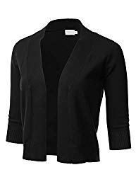 FLORIA Womens Classic 3/4 Sleeve Open Front Cropped Cardigan Black L