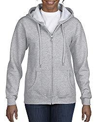 Gildan Women's Full Zip Hooded Sweatshirt, Sport Grey Large
