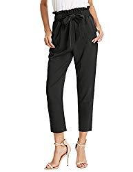 GRACE KARIN Women's Casual Slim Fit Elastic Waist Cropped Pants Trousers S AF1011-1 Black