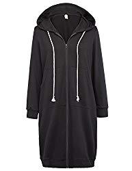 GRACE KARIN Women's Comfy Versatile Zip-Up Hoodie Sweatshirt Jackets Black Size L CL612-1