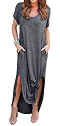 GRECERELLE Solid V-Neck Pocket Loose Maxi Dress Dark Gray M