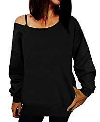GSVIBK Women Loose Black Sweatshirts Sexy Off Shoulder Long Sleeve Printed Slouchy Shirt Wifey Pullover Tops Black 107-L