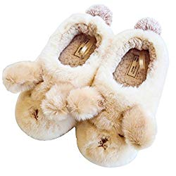 HALLUCI Women's Cozy Fleece Memory Foam House Trick Treat Halloween Slippers (5-6 M US, The Fluffy Dog)