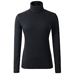 HieasyFit Women's Cotton Basic Thermal Turtleneck Pullover Top Black S