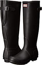 Hunter Women's Original Back Adjustable Rain Boots Black 6 M US
