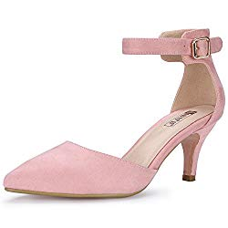 IDIFU Women's IN3 D'Orsay Pointed Toe Ankle Strap Mid Heel Pump (Pink Suede, 8.5 B(M) US)