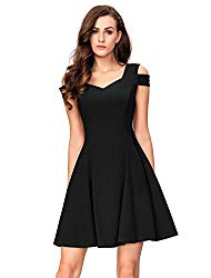 InsNova Women's Cold Shoulder Little Black Cocktail Party Dress Short Sleeves