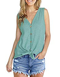 IWOLLENCE Womens Loose Henley Blouse Sleeveless Button Down T Shirts Tie Front Knot Tops Blue-Green S