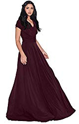 KOH KOH Petite Womens Long Cap Short Sleeve V-Neck Flowy Cocktail Slimming Summer Sexy Casual Formal Sun Sundress Work Cute Gown Gowns Maxi Dress Dresses, Maroon Wine Red XS 2-4