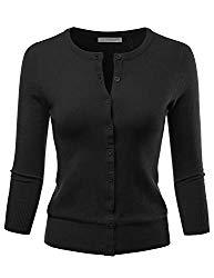 LALABEE Women's 3/4 Sleeve Crewneck Button Down Knit Sweater Cardigan Black M