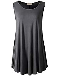 LARACE Women Solid Sleeveless Tunic for Leggings Swing Flare Tank Tops (2X, Deep Gray)