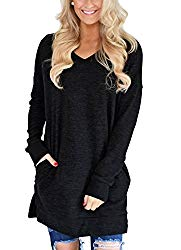LERUCCI Womens Casual Long Sleeves Solid V-Neck Tunics Sweatshirt with Pockets Black Large