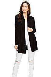 Long Open Front Lightweight Soft Knit L/Sleeve Open Cardigans for Women Regular and Plus Size Black XL