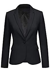 LookbookStore Women's Black Notched Lapel Pocket Button Work Office Blazer Jacket Suit Size S