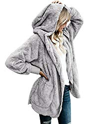 LookbookStore Women's Oversized Open Front Hooded Draped Pocket Cardigan Coat Size M (Fit US 8 – US 10) Light Grey