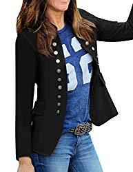 luvamia Women's Open Front Long Sleeves Work Blazer Casual Buttons Jacket Suit Black Size Large (Fits US 12-US 14)