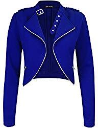 Michel Womens Fleece Jacket Classic Crop Rider Zip UP Jacket Large