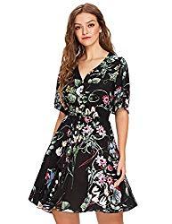 Milumia Women's Boho Button Up Split Floral Print Flowy Party Dress Multicolor-Black-2 Large