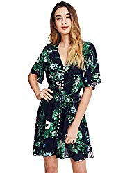 Milumia Women's Button Up Split Floral Print Flowy Party Short  Dress X-Large a-Multicolor-Green