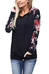 Minipeach Women's Pullover Long Sleeve Hoodies Coat Loose Casual Sweatshirts with Pocket Black