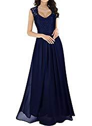 Miusol Women's Casual Deep- V Neck Sleeveless Vintage Maxi Dress (Small, Navy Blue)