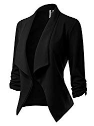 MixMatchy Women's [Made in USA] Classic 3/4 Gathered Sleeve Open Front Blazer Jacket (S-3XL) Black 1XL