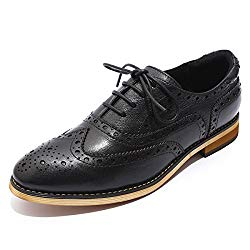 Mona flying Womens Leather Lace-up Dress Oxfords Derby Shoes for Womens Ladies Black