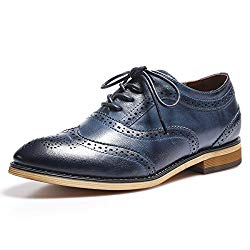 Mona flying Womens Leather Lace-up Dress Oxfords Derby Shoes for Womens Ladies