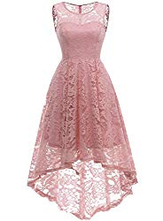 MUADRESS 6006 Women's Vintage Floral Lace Sleeveless Hi-Lo Cocktail Formal Swing Dress Blush 2XL