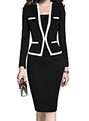 MUSHARE Women's Colorblock Wear to Work Business Party Bodycon One-Piece Dress (Black+White, XX-Large)