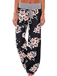 NEWCOSPLAY Women's Comfy Pajama Pants Floral Print Drawstring Palazzo Lounge Wide Leg Pants (L, K052-black)