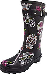 NORTY – Womens Hurricane Wellie Printed Rose Skulls Mid-Calf Rain Boot, Black 40713-8B(M) US