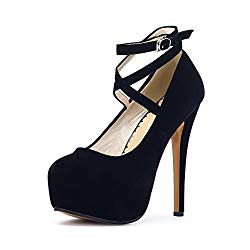 OCHENTA Women's Ankle Strap Platform Pump Party Dress High Heel #10 Black Tag 40 – US B(M) 8