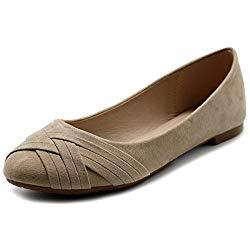 Ollio Women Ballet Shoes Cute Casual Comfort Flat ZM1987(8 B(M) US, Beige)