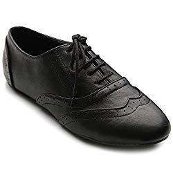 Ollio Womens Shoes Classic Lace Up Dress Low Flats Heel Oxfords M1914(8.5 B(M) US, Black)