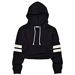 Perfashion sexy crop top sweatshirt cropped sweatshirt (M, Striped Black Hoodie)