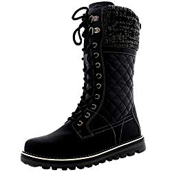 Polar Womens Winter Thermal Snow Outdoor Warm Mid Calf Waterproof Durable Boot – Black Leather – US9/EU40 – YC0379
