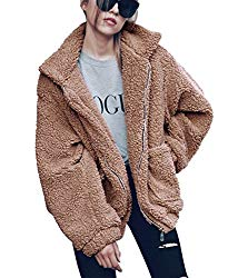 PRETTYGARDEN Women's Fashion Long Sleeve Lapel Zip Up Faux Shearling Shaggy Oversized Coat Jacket with Pockets Warm Winter (Khaki, Medium)