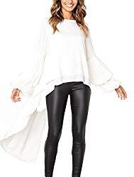 PRETTYGARDEN Women's Lantern Long Sleeve Round Neck High Low Asymmetrical Irregular Hem Casual Tops Blouse Shirt Dress (White, X-Large)