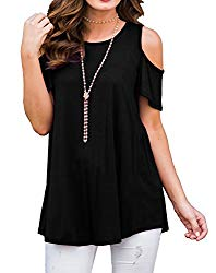 PrinStory Women's Short Sleeve Casual Cold Shoulder Tunic Tops Loose Blouse Shirts Black-L