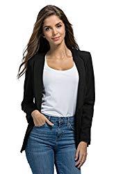 Rbspt Womens Casual Basic Work Office Tuxedo Blazer Boyfriend Jacket Black L