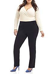 Rekucci Curvy Woman Ease in to Comfort Straight Leg Plus Size Pant w/Tummy Control (20W,Black)