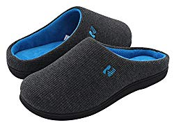 RockDove Women's Two-Tone Memory Foam Slipper (7-8 B(M) US, Dark Gray/Blue)
